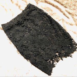 Crochet Lace Black Mini Skirt - Small